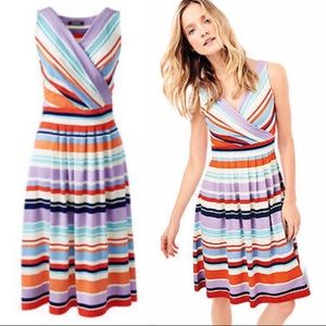 Lands End Multi-Color Striped Fit and Flare Dress